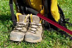 Hiking shoes in the grass. Pair of hiking shoes in the grass Stock Photo