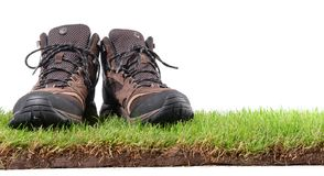 Hiking Shoes on Grass - Panorama stock photography