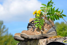 Hiking shoes Landscape Royalty Free Stock Photography