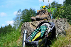 Hiking shoes Landscape Royalty Free Stock Image