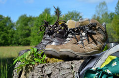 Hiking shoes Landscape Stock Photos