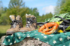 Hiking shoes Landscape Royalty Free Stock Images
