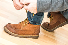 The hiking shoes. The new hiking boots, indoor Stock Photos