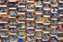 Hiking Shoes Shop Store in Madrid, Spain stock photo
