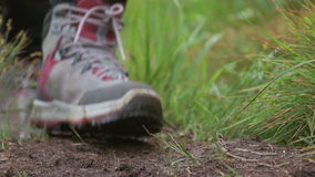 Hiking shoes stock footage