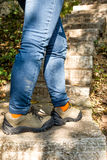 Hiking shoes ,walking on mountain steps Royalty Free Stock Photos