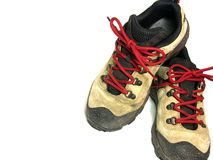 Hiking Shoes on White. Background with room for ad copy Royalty Free Stock Photography