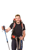 Hiking shows the right hand Royalty Free Stock Photo