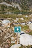 Hiking sign in alpine wilderness Royalty Free Stock Photo