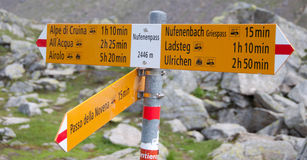 Hiking sign Alps. Hiking sign Nufenenpass in the high Alps royalty free stock photo