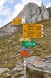 Hiking sign Alps. Yellow hiking signs in the Alps, Passo Sole stock images