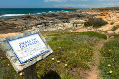 Hiking sign coast portugal royalty free stock photos