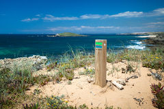 Hiking sign coast portugal royalty free stock images