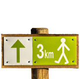 Hiking sign with distance 3 km Royalty Free Stock Photography