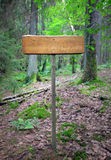 Hiking sign in forest Stock Images