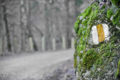 Hiking sign on a moss rock Stock Photos