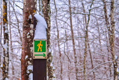 Hiking sign in nature Royalty Free Stock Images