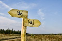 Hiking signpost stock photos