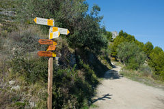 Hiking signpost Royalty Free Stock Photography