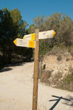 Hiking signpost stock photo