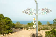 Hiking signpost on Costa Blanca Royalty Free Stock Photos