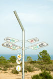 Hiking signpost on Costa Blanca Stock Photo
