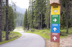 Hiking signpost in forest Stock Photo