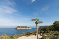 Hiking signpost at Javea royalty free stock images