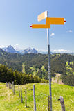 Hiking signpost mountain concept Royalty Free Stock Photography