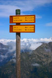 Hiking Signpost with Mountains. Signpost of hiking trails in the French Alps Stock Image