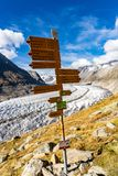 Hiking signpost near Aletsch Glacier in Alps Switzerland royalty free stock image