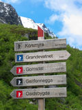 Hiking signpost in Norway Stock Photography