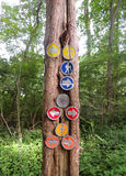 Hiking signs in a Connecticut Park Stock Photos