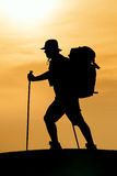 Hiking silhouette in mountains Stock Photography