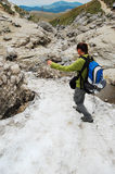 Hiking on snow Royalty Free Stock Photos
