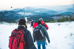 Hiking in the snow Stock Photography