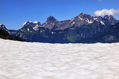 Hiking Snowfields Red Mountain Artist Point Glaciers Washington Stock Image