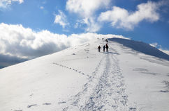Hiking in snowy mountain. Group of people descending Kom summit in beautiful weather and following a trail in the snow coming to the viewer. Kom summit is the Royalty Free Stock Images