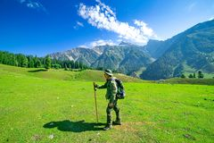 Hiking on Sonamarg mountain. Kashmir India stock photography