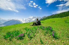 Hiking on Sonamarg mountain. Kashmir India stock images