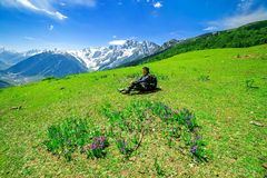 Hiking on Sonamarg mountain. Kashmir India Royalty Free Stock Photography