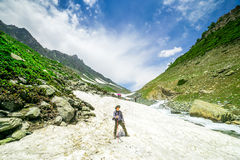 Hiking on Sonamarg mountain. Kashmir India royalty free stock image