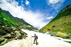 Hiking on Sonamarg mountain. Kashmir India royalty free stock images