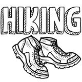 Hiking sports sketch. Doodle style hiking outdoor sports illustration. Includes text and hiking boots Royalty Free Stock Photo