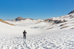 Hiking in Stunning Alpine Scenery Royalty Free Stock Photo