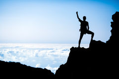 Hiking success, man hiker runner climber in mountains Stock Photos