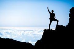 Hiking success, man hiker runner climber in mountains Stock Photos