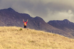 Hiking success, man hiking in inspirational mountains Royalty Free Stock Images