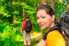 Hiking in summer forest Royalty Free Stock Photography