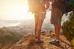 Hiking at sunset Royalty Free Stock Photography